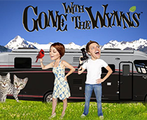 Nikki and Jason Wynn with their RV and cats