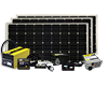 Battery charging system that includes three 155 watt solar modules, 3000 watt inverter, pre-wired transfer switch, smart converter, cables, remote and fuse.